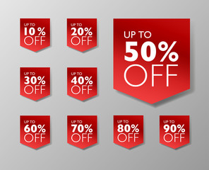 50% off Back Friday sale tags. Set of 10% through 90% off Red labels for sale promotional marketing.