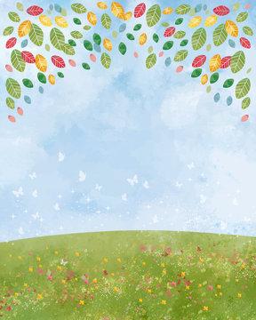 草原:丘 大地 緑 景色 青空 空 自然 背景 水彩 手描き 青空 空 木立 葉 木々 森 蝶