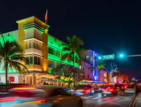Ocean Drive hotels and lights at night