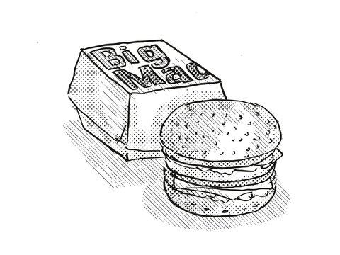 Big Mac burger meal Cartoon Retro Drawing