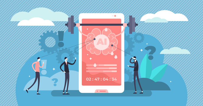 Data feeding vector illustration. Flat tiny AI information persons concept.
