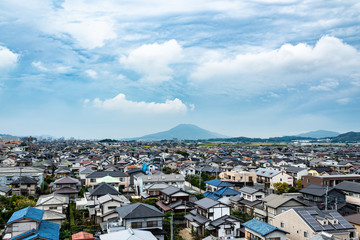 aerial view of the city in Fukuoka nishi-ku, Japan