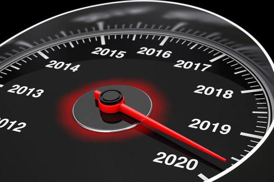 Conceptual 2020 New Year Speedometer. 3d Rendering