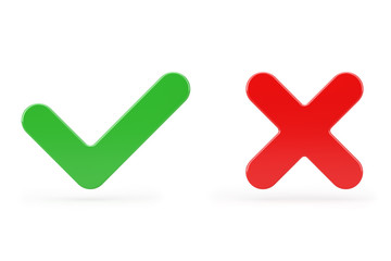 Red Cross and Green Check Mark, Confirm or Deny, Yes or No Icon Sign. 3d Rendering