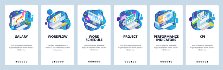 Business project website and mobile app onboarding screens vector template