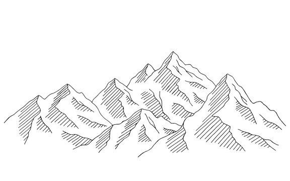 Mountain range graphic black white landscape sketch illustration vector