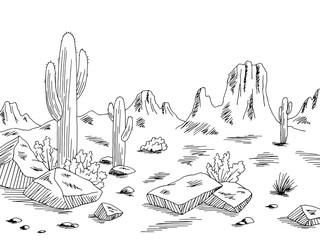 Prairie graphic black white desert landscape sketch illustration vector
