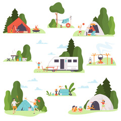 Set of holiday pictures at the campsite. Vector illustration.