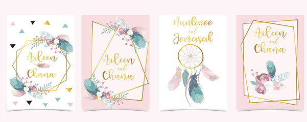 Wall Mural - Pink green geometry wedding invitation with rose,feather and leaves.Vector birthday invitation for kid and baby.Editable element