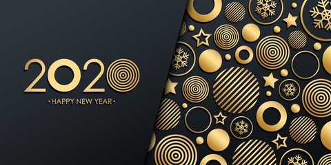 2020 New Year luxury holiday banner with gold christmas balls, stars and snowflakes. Vector illustration. Fototapete