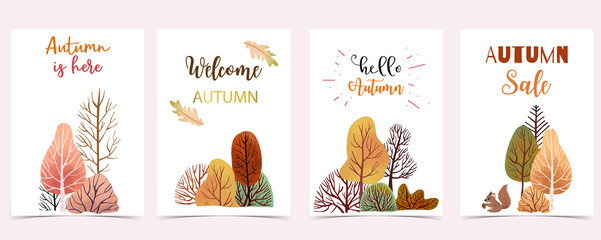 Wall Mural - Collection of autumn background set with leaves,maple,acorn,frame.Editable vector illustration for birthday invitation,postcard and website banner