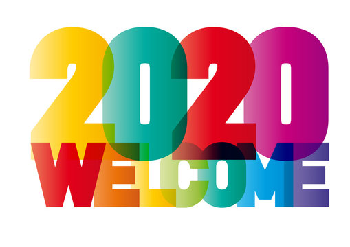 welcome new year 2020 creative colorful text