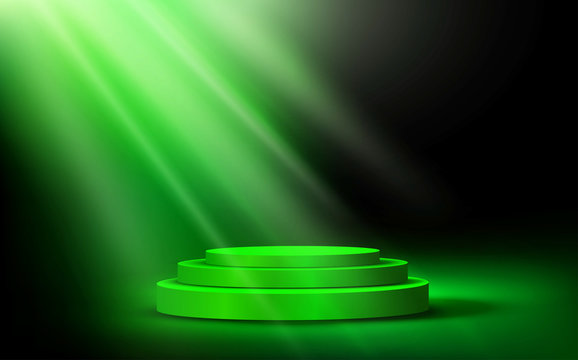 green podium with blue light in the dark room