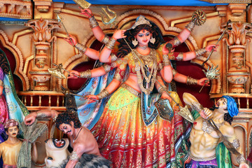 Foto op Aluminium Imagination Goddess Durga idol at decorated Durga Puja pandal, shot at colored light, at Kolkata, West Bengal, India. Durga Puja is biggest religious festival of Hinduism and is now celebrated worldwide.