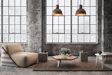 Industrial Luxury Loft with Furniture (concept) - 3d visualization