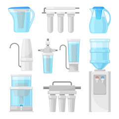 Vector Illustration Set With Water Filters, Containers And Devices