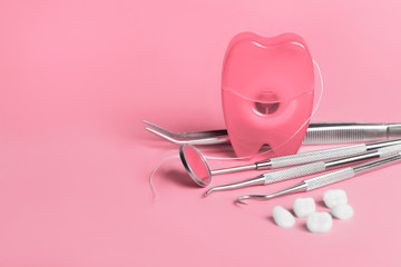 dental tools on blue background top view Wall mural