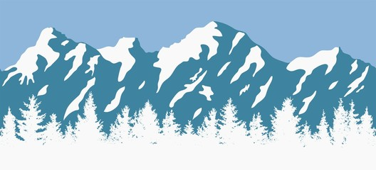 vector coniferous trees and mountain silhouettes