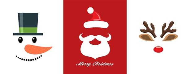 vector christmas icon set of snowman, santa claus and reindeer