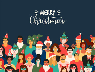 Christmas and Happy New Year illustration with people in carnival costumes. Vector design template.