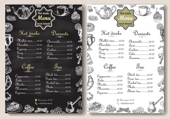 Hot drinks and sweet desserts A4 menu vector template