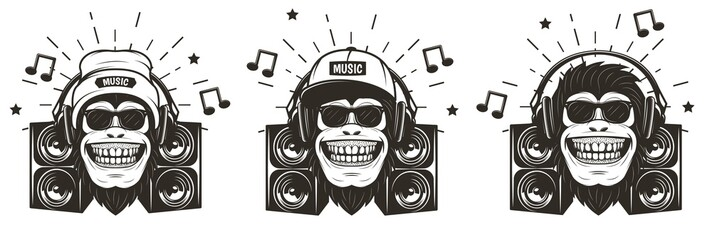 Funny music monkey set, vector hand drawn illustration