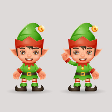 Santa claus helper christmas elf boy new year 3d cartoon character design vector illustration