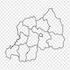 Blank map Rwanda. High quality map Republic of Rwanda with provinces on transparent background for your web site design, logo, app, UI. Stock vector.  EPS10.