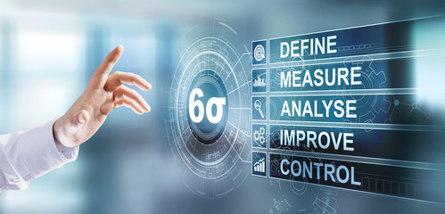 Six sigma lean manufacturing industrial tool quality improvement. Business technology concept on virtual screen.