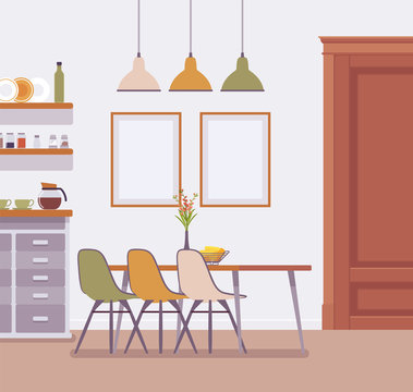 Dining room modern interior. Furniture for enjoying morning daily activity, place for family mealtimes and special evening occasions. Vector flat style cartoon illustration