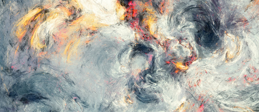 Abstract painting texture. Modern watercolor pattern. Wide soft grey background. Fractal artwork for creative graphic design