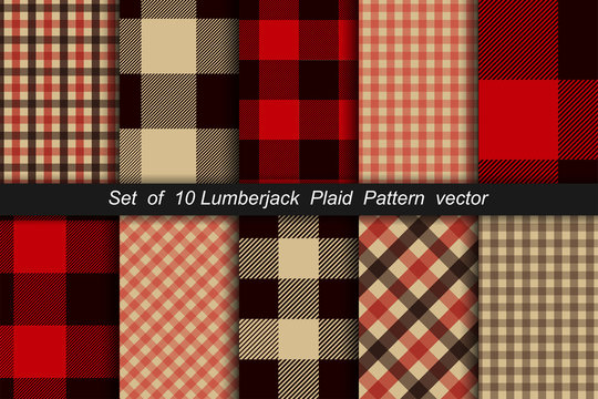 Set of 10 Lumberjack plaid pattern. Lumberjack plaid and buffalo check patterns. Lumberjack plaid tartan and gingham patterns. Vector illustration
