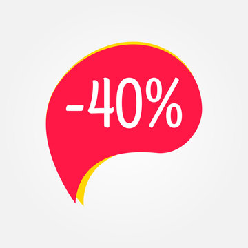 Sale sticker. 40 percent price off discount label or tag. Promo badge for advertising design. Vector illustration.