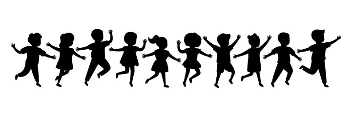 Black silhouette group of cartoon happy children girl and boy joyfully run. Cute diverse kids. Vector illustration