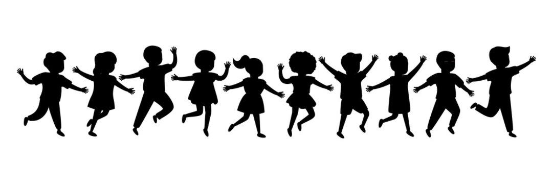 Black silhouette group of cartoon happy children girl and boy joyfully run. Cute diverse kids. Vector illustration