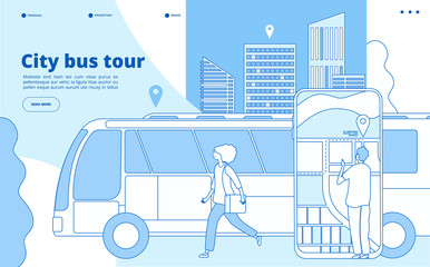 City bus tour. Urban bus excursion, tourists with cityscape and map smartphone app. Tourism and transportation vector line concept. Tour bus trip, tourism excursion illustration