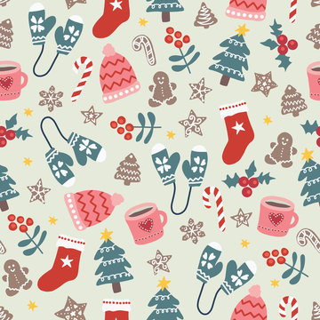 Christmas and New Year vector seamless pattern. Winter holiday season background with flat doodle objects. Hat stocking tree cookies mug mittens candy cane Scandinavian style. Xmas holidays items