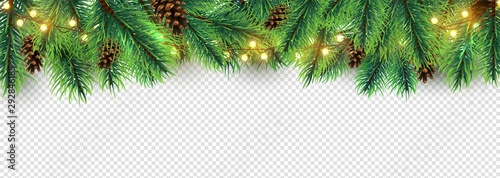 Christmas border. Holiday garland isolated on transparent