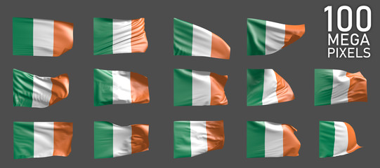 Ireland flag isolated - various pictures of the waving flag on grey background - object 3D illustration
