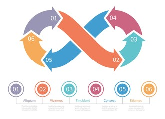 Loop symbol. Infinity vector infographic element. Colorful mobius loop, step by step design element. Illustration infinity graphic loop, web infographic presentation