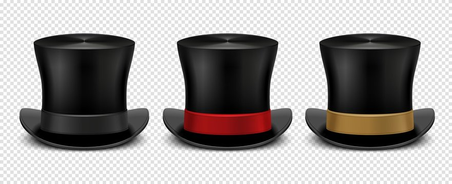 Realistic top hat. Magic hat vector. Vintage black gentleman headwears isolated on transparent background. Illustration top hat, cylinder magic for entertainment
