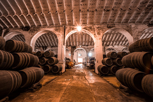 Botas de vino en una bodega española