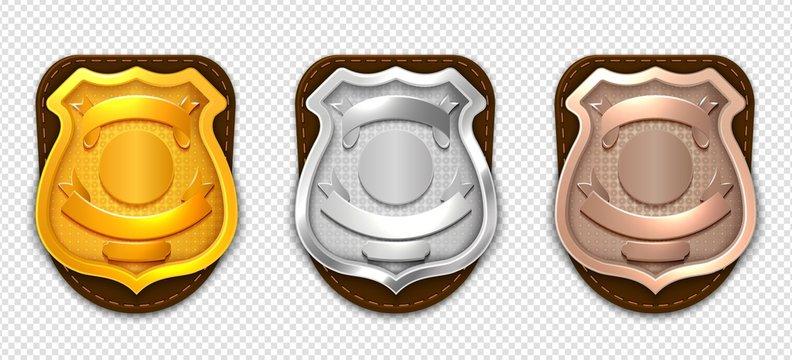 Realistic police badges. Security silver gold bronze badges vector mockup. Badge metal sheriff emblem isolated, realistic police badge illustration