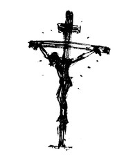 Jesus on the cross. Hand Drawn Sketch Vector illustration.