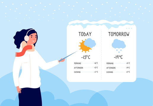 Winter weather forecast. Woman forecasting sunny and snowy day in tv news vector concept. Illustration forecast weather, woman show meteorology banner