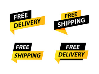 Free delivery or free shipping labels. Banner template. Vector illustration.