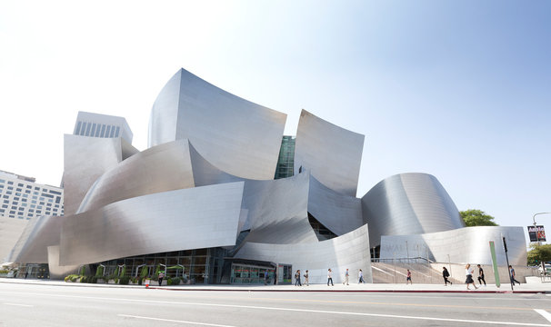 Los Angeles, USA - August 21, 2015:  Walt Disney Concert Hall designed by architect Frank Gehry, home of the Los Angeles Philharmonic orchestra and the Los Angeles Master Chorale.