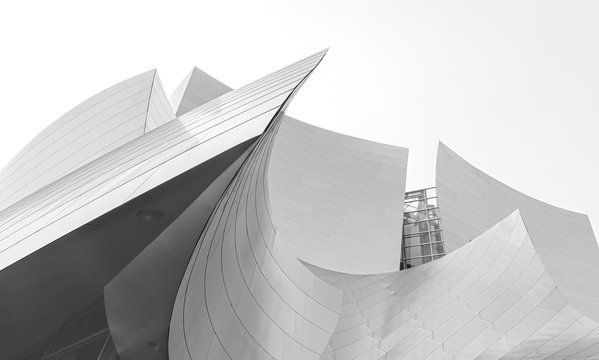 Los Angeles, USA - August 21, 2015: Details of the Walt Disney Concert Hall designed by architect Frank Gehry.