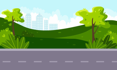 Photo sur Aluminium Lavende Vector flat illustration of green landscape with trees and shrubs, blue sky, country road and city in the background. Concept of preserving the green environment, ecology. Caring for the future.