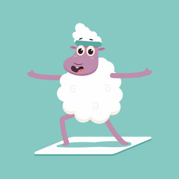 Cute sheep in yoga pose. Funny vector cartoon lamb character isolated on a background.